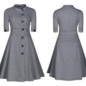 Miusol Black & White Houndstooth Day Dress Sz 2XL